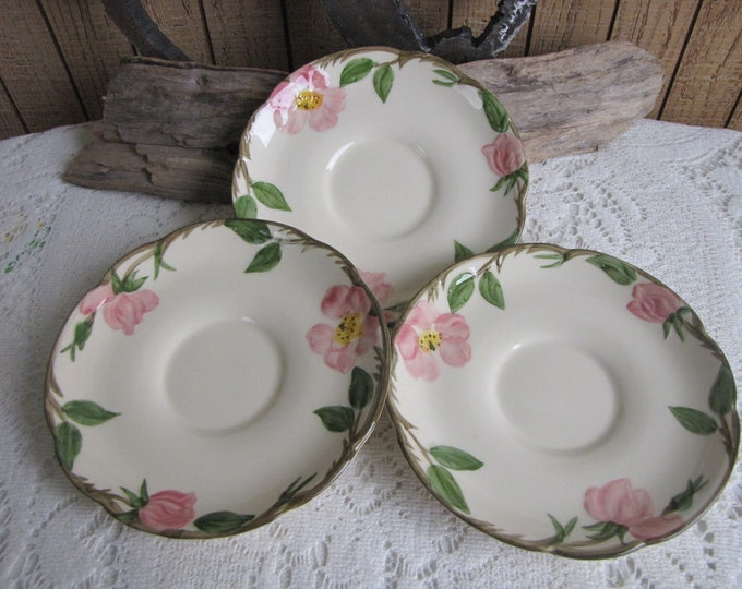 Franciscan Desert Rose Saucers Set of Three (3) Saucers Vintage Dinnerware and Replacements 1949 to 1953