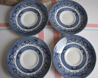 Blue Willow Saucers set of 4 Churchill China Vintage Dinnerware and Replacements