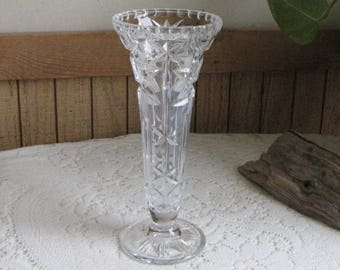 Crystal Vase Cut Glass Flower Vase Etched Waffle and Stars Footed Vintage Vases and Florist Ware