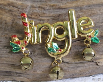 Jingle Bells Brooch Vintage Christmas Jewelry and Accessories