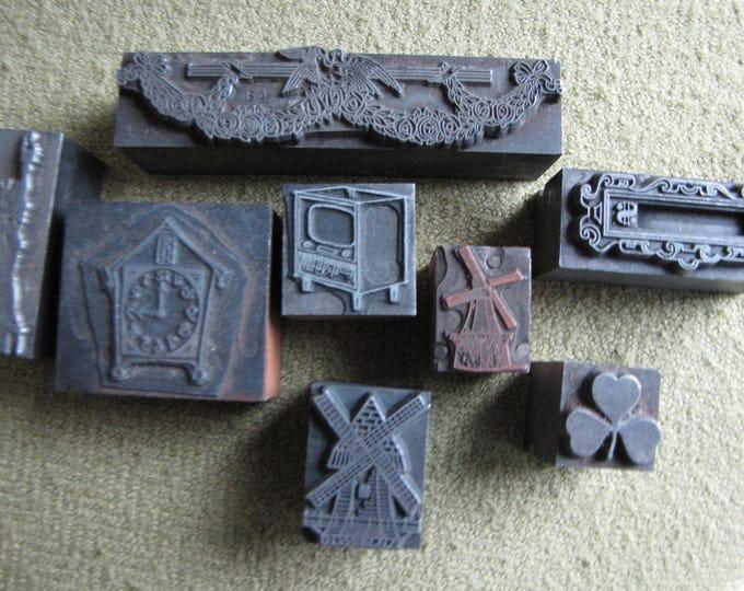 Old Metal Printer's Blocks Lot of Eight (8) Metal and Wood Based Printer Letterpress Circa 1907