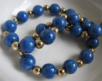 Blue Glass Beaded Choker Vintage Jewelry and Accessories