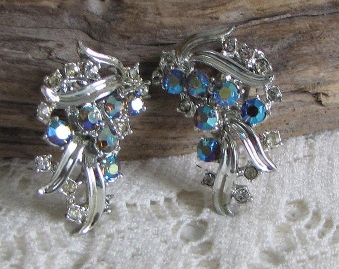 Aurora Borealis Silver Earrings Clip On Floral Designed Vintage Jewelry and Accessories