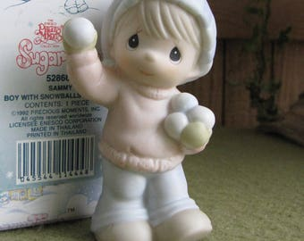 Precious Moments Sugar Town Sammy Boy with Snowballs Figurine Butterfly Symbol 1993 Retired