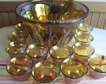Iridescent Gold Carnival Glass Punch Bowl Set 20 Piece Set Vintage Indiana Glass Co.