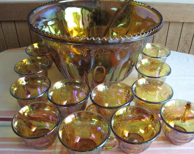 Vintage Iridescent gold carnival glass punch bowl set  20 piece set Indiana Glass Co.