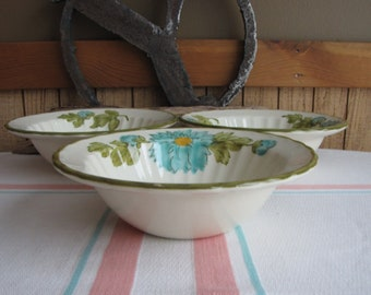 Metlox Blue Fascination 3 Cereal Bowls 1960s Vintage Dinnerware and Replacements
