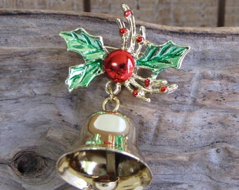 Christmas Bell Brooch Vintage Holiday Jewelry and Accessories