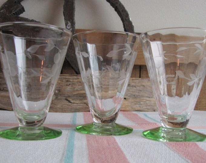 Etched Juice Glasses Green Base Vintage Drinkware Set of Three (3) Small Glasses Depression Glass