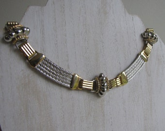 Silver and Gold Toned Choker Vintage Jewelry and Accessories