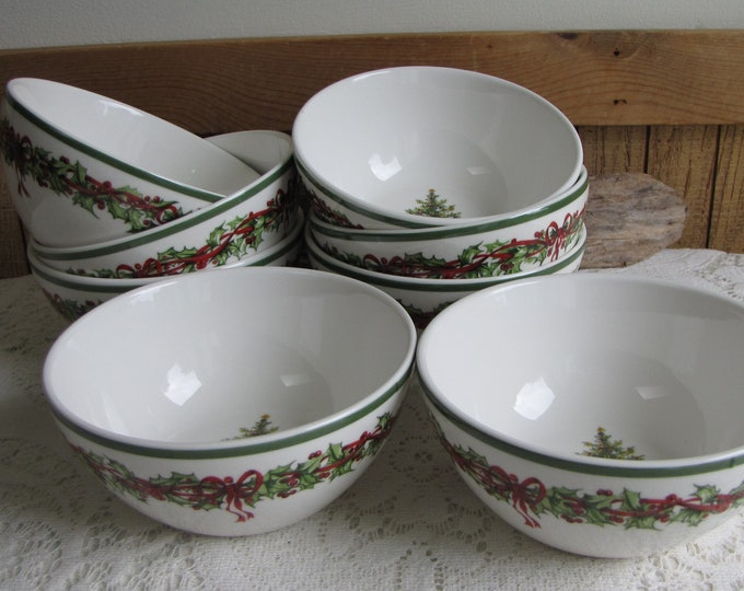 Christopher Radko Traditions Holiday Celebrations Cereal Bowls Set of Eight (8) Vintage Christmas Dinnerware and Replacements