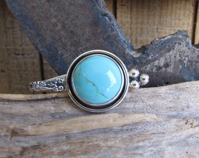 Sterling Silver and Turquoise Tie Clip Vintage Men's Jewelry and Accessories
