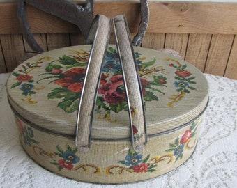 Picnic Basket Tin Vintage Tins Handled Sewing or Cookie Tin Metal Lunchbox