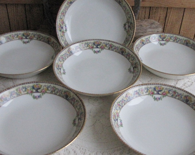 Bawo & Dotter Coupe Bowls Circa 1920s Art Deco Vintage Dinnerware and Replacements Set of Six (6)
