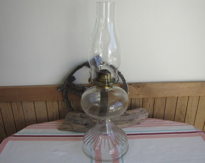 Kerosene Lamp with Chimney Antique Lighting Eagle Brand 1920s