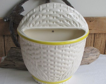 White Haeger Pottery Wall Pocket #8264 Vintage Planters and Pots Yellow and White Farmhouse Home Décor Ceramic Wall Basket