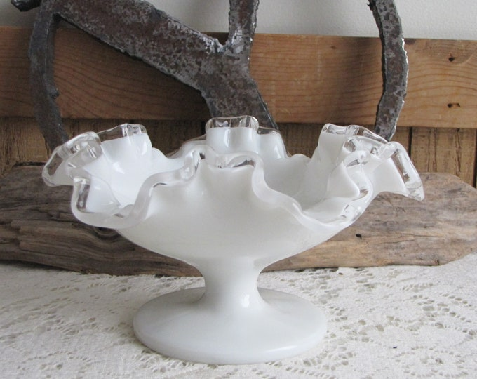 Fenton Silver Crest Vintage Milk Glass Art Glass Crimped and Flared Bowl 1942-1986