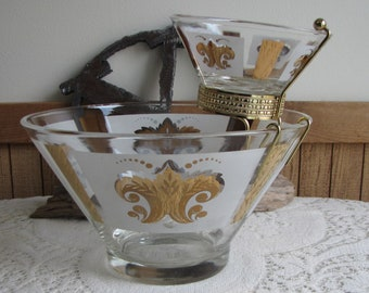 Festive Chip and Dip Bowls Anchor Hocking Vintage Partyware and Kitchens Circa 1960s