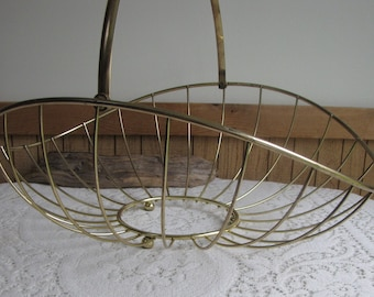 Brass Magazine Basket or Rack Mid-Century Modern Home Decor Vintage Storage