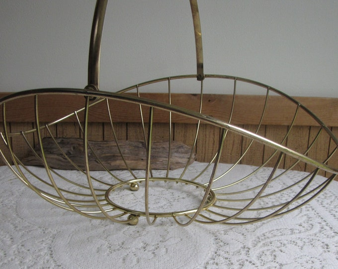 Brass Magazine Basket or Rack Mid-Century Modern Home Decor