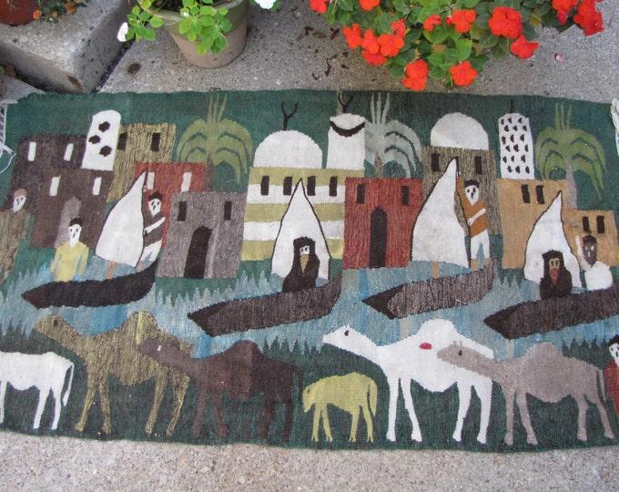 Persian Scenic Rug Horsehair Woven Throw Rug Vintage Home Decor