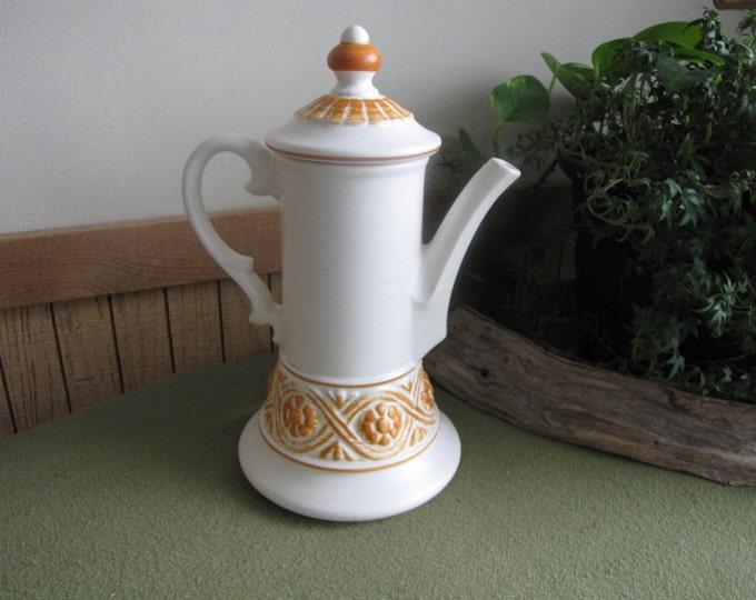 Vintage Haeger Pottery Orange Morocco Coffee Pot White and Tangerine