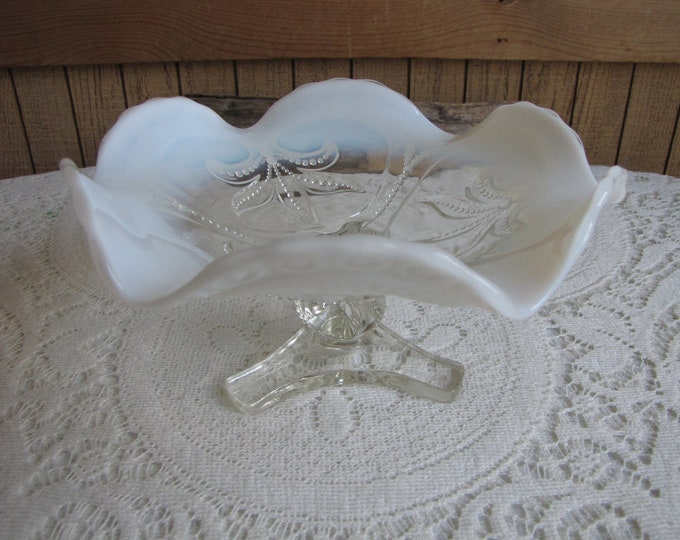 Vintage Opalescent Footed Bon Bon Dish White Antique Home Decor Beads and Ferns