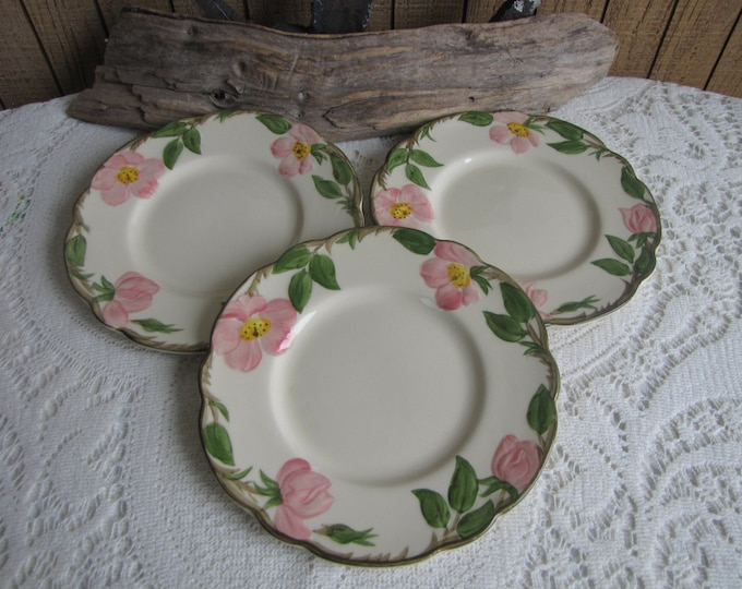 Franciscan Desert Rose Bread Plates Vintage Dinnerware and Replacements Three (3) Small Plates Circa 1940s