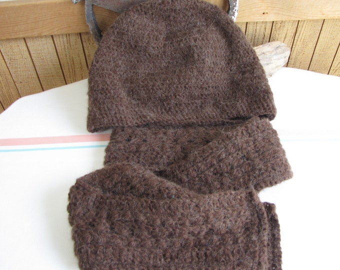 Crocheted Winter Scarf and Hat Brown Alpaca Blend Yarn Irish Stitched Slouchy Hat Winter Men's Accessories