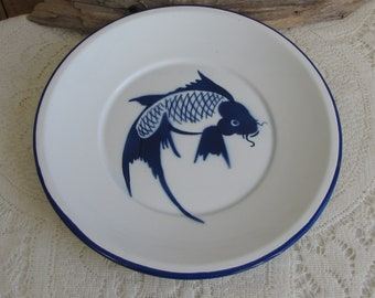White Enamel Koi Plate Trimmed in Blue Vintage Metal Dinnerware and Replacements Butterfly Brand