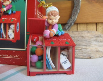 Enesco Treasury of Christmas Get in the Spirit…Recycle 1995 Vintage Christmas and Tree Ornaments