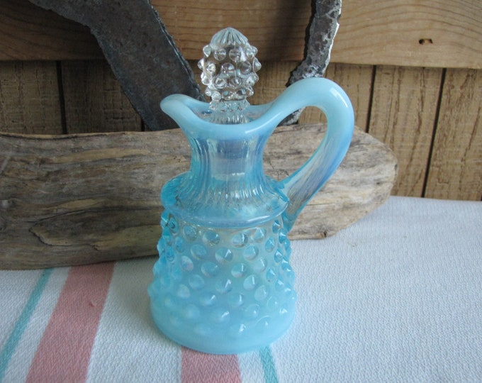 Vintage Fenton blue opalescent hobnail cruet 1939 to 1955