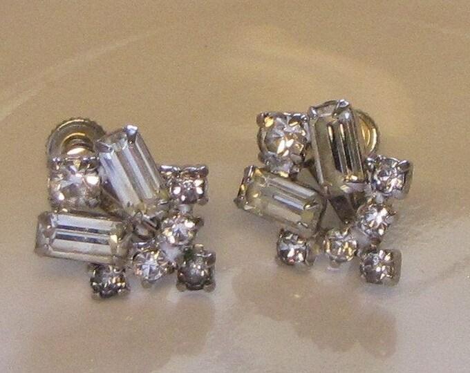 Art Deco Rhinestone Earrings Screw Backs Vintage Jewelry and Accessories