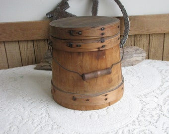 Sugar Firkin Wooden Canister Antique Kitchen Storage