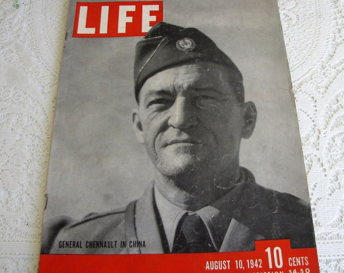 Life Magazines 1942 August 10 General Chennault in China Vintage Magazines and Advertising
