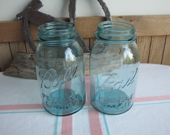 Blue Ball Mason Jars One-Quart Perfect Masons 1923-1933 Vintage Kitchens and Storage Set of Two (2)
