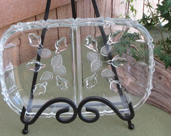 Divided Relish Tray Frosted Rose Designed Crystal Two Part Dish Square Glass Scalloped Edges