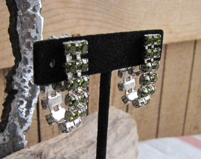Green Rhinestone Clip-On Earrings Vintage Jewelry and Accessories