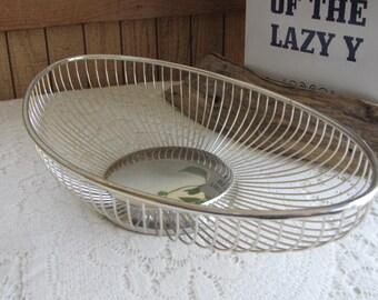 Vintage Wire Bread Basket William Adams Masterpiece Silver Plate