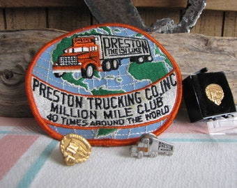 Preston Trucking Patch and Pins Vintage Commercial Trucking Industry Memorabilia