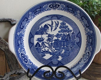 Blue Willow handled dinner plate Royal China Co. Vintage dinnerware and replacements