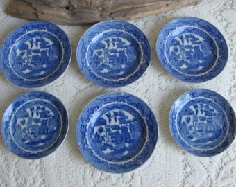 Small Blue Willow Plates Made in Japan Children's Set of Six (6) Small Plates Vintage Dinnerware Plate Walls