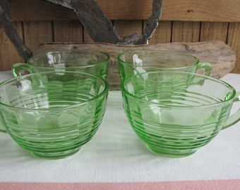 Green Depression glass coffee cups Anchor Hocking Circle  1930 to 1935 Vintage Dinnerware and Replacements