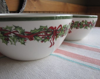 Radko Holiday Celebrations 2 Cereal Bowls Vintage Christmas Dinnerware and Replacements