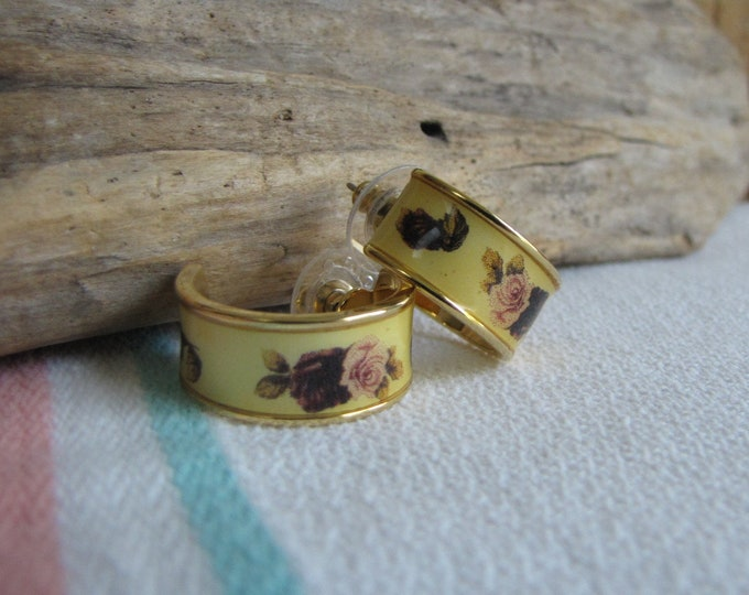 1928 Yellow and Roses Pierced Earrings Vintage Jewelry and Accessories