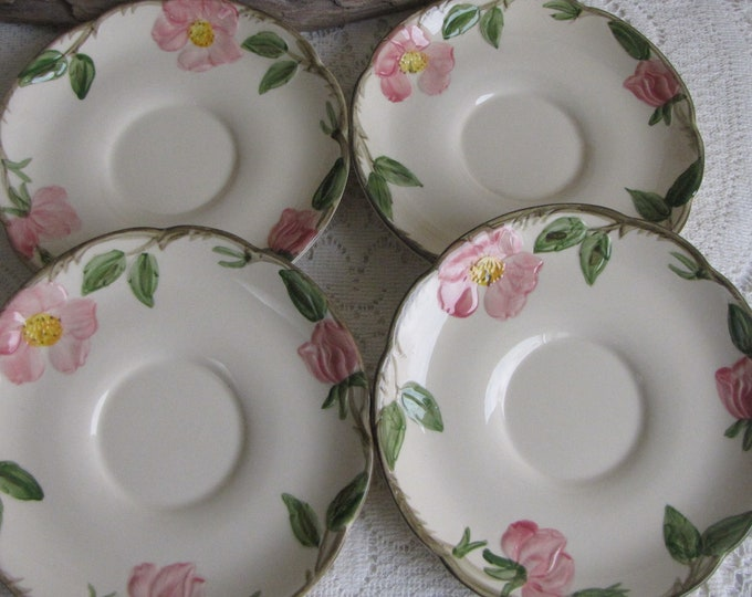 Franciscan Desert Rose Saucers Set of Four (4) Gladding McBean Saucers Vintage Dinnerware and Replacements 1953-1958