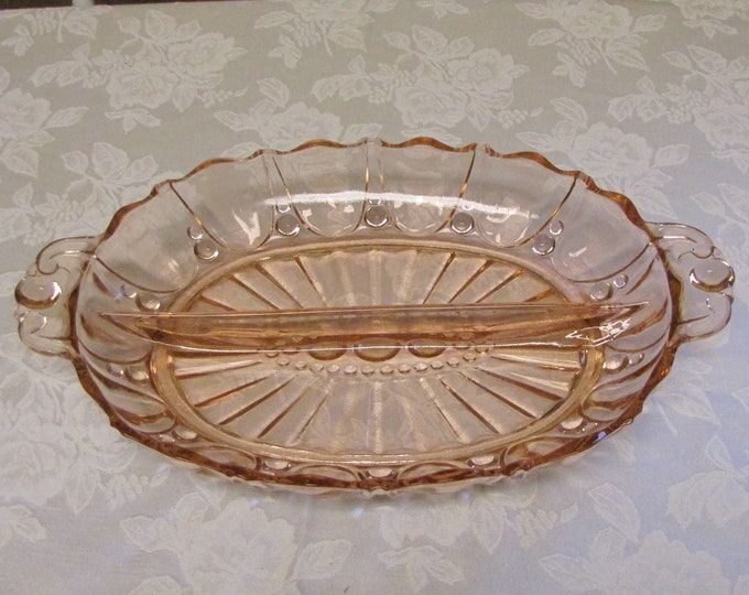 Vintage Pink Blush Depression Glass Relish Tray Anchor Hocking Oyster and Pearl 1938 to 1940