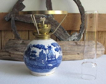 Blue Willow Ware Hurricane Lamp Vintage Home Decor and Lighting Chinoiserie Made in Japan