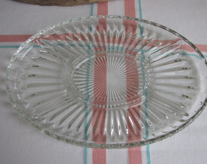 Oval Divided Tray Indiana Glass Vintage Relish Dishes