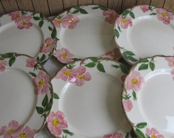 Franciscan Desert Rose Dinner Plates 1949 - 1953 Vintage Dinnerware and Replacements Set of Six (6)